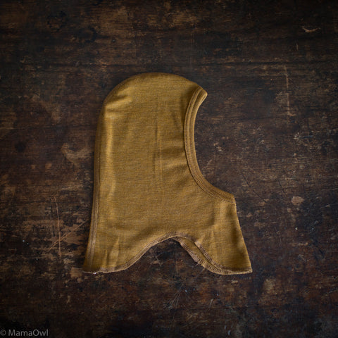 Exclusive Organic Silk & Merino Baby & Small Kids Balaclava - Deep Ochre