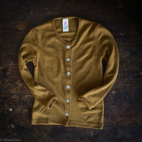 Exclusive Organic Silk & Merino Kids Cardigan - Deep Ochre