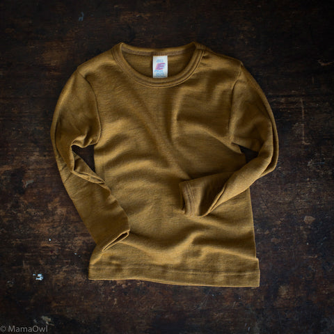 Exclusive Organic Silk & Merino Kids LS Top - Deep Ochre