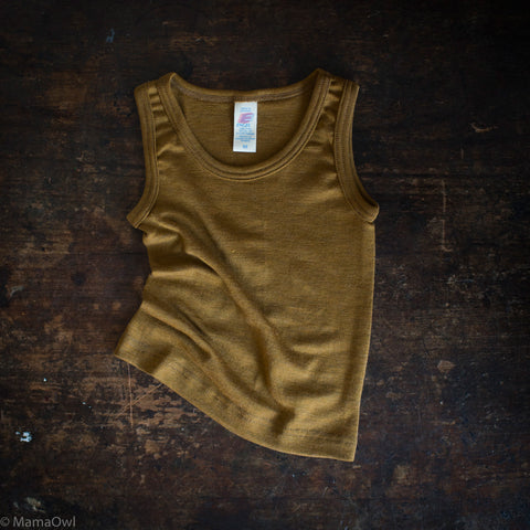 Exclusive Organic Silk & Merino Kids Sleeveless Top - Deep Ochre