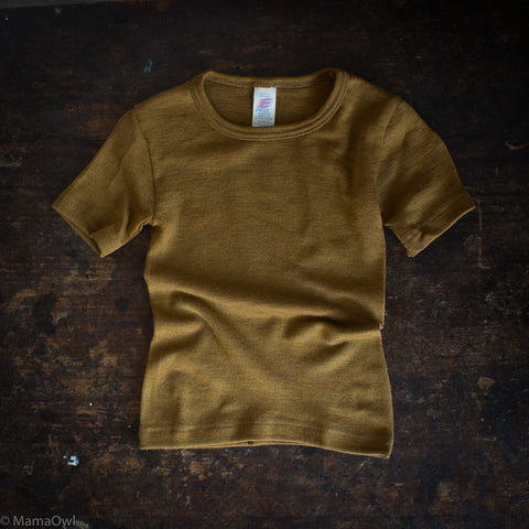 Exclusive Organic Silk & Merino Kids SS Top - Deep Ochre