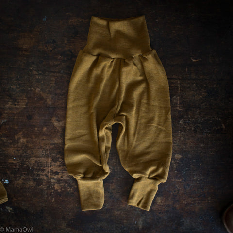 Exclusive Organic Silk & Merino Baby Pants - Deep Ochre