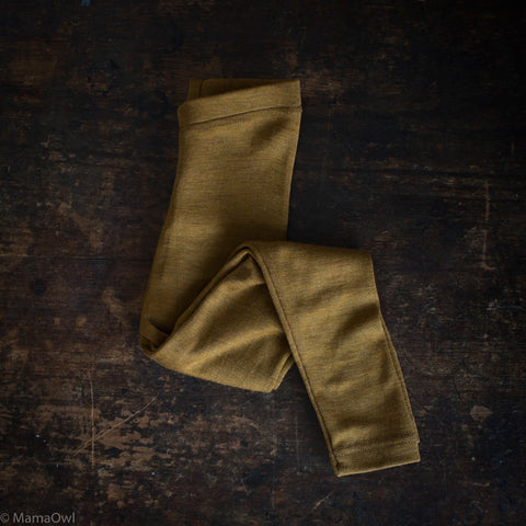 Exclusive Organic Silk & Merino Kids Leggings - Deep Ochre