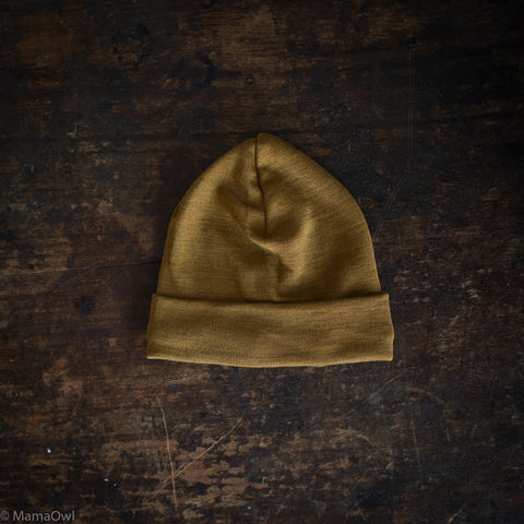 Exclusive Organic Silk & Merino Baby Hat - Deep Ochre