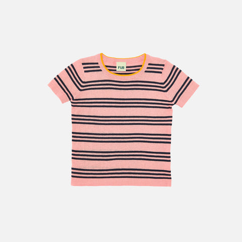 Organic Cotton Striped Tee - Blush/Navy - 1-10y