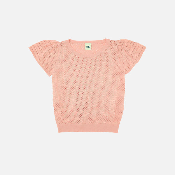 Organic Cotton Pointelle Tee - Blush - 1-12y