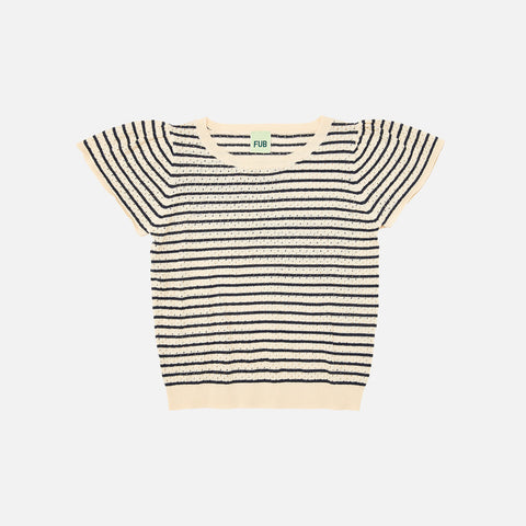 Organic Cotton Pointelle Tee - Ecru/Navy - 1-12y
