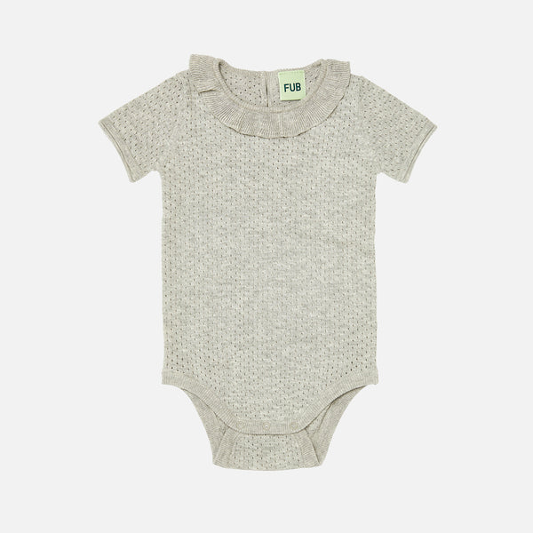 Organic Cotton Baby Pointelle Body - Light Grey - 0-2y
