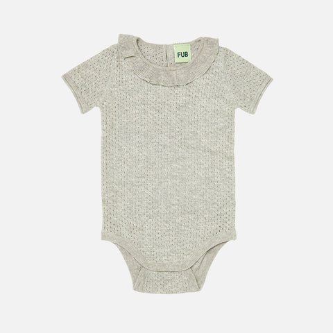 Organic Cotton Baby Fine Knit Pointelle Romper - Light Grey - 0-2y