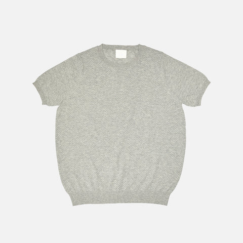 Women's Organic Cotton Pointelle Tee - Light Grey