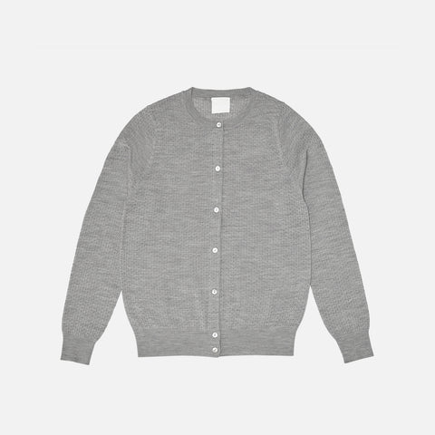 Women's Merino Wool Pointelle Cardigan - Light Grey