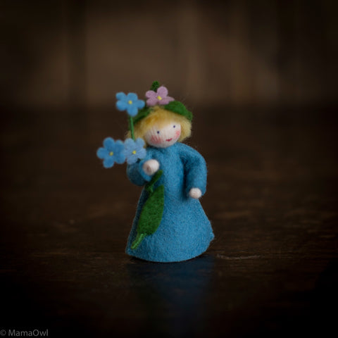 Handmade Small Wool Flower Fairy - Forget Me Not