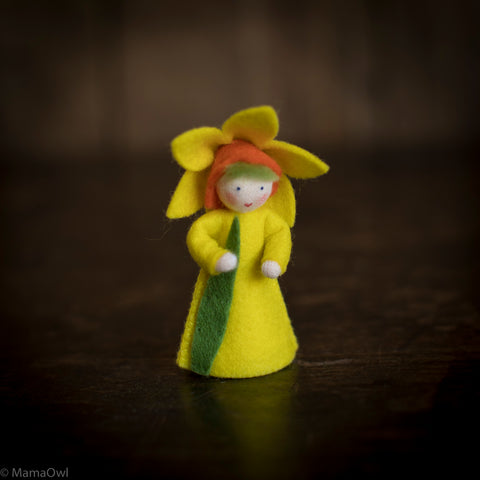 Handmade Small Wool Flower Fairy - Daffodil