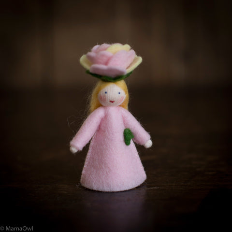 Handmade Wool Flower Fairy - Rose
