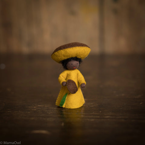 Handmade Small Wool Flower Fairy - Yellow Mushroom