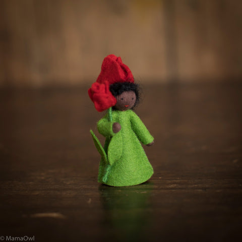 Handmade Small Wool Fairy Holding Flower - Red Tulip