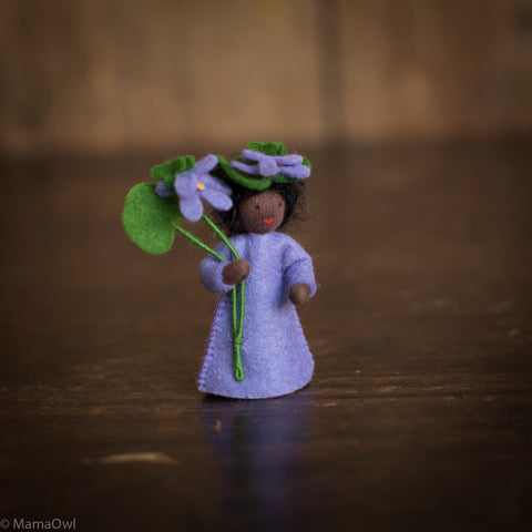 Handmade Small Wool Fairy With Flower - Violet