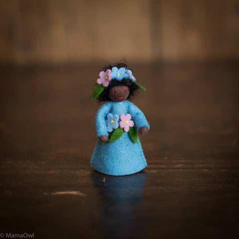 Handmade Small Wool Fairy With Flower Headdress- Forget Me Not