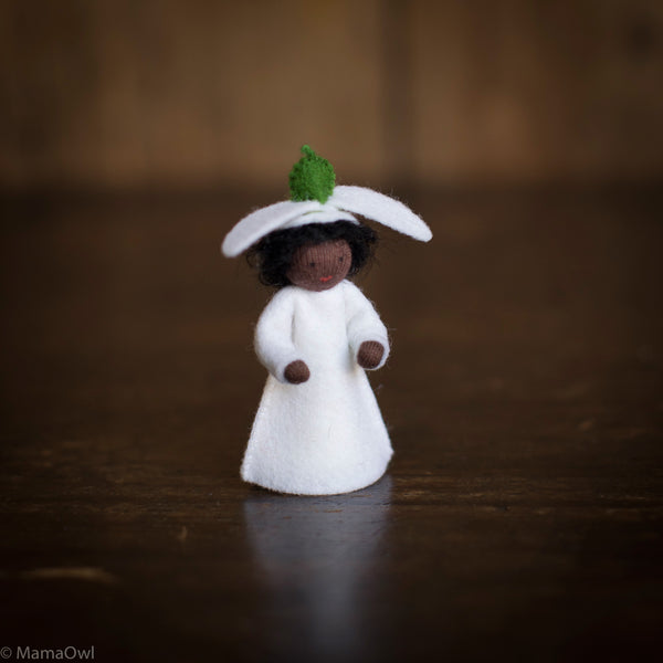 Handmade Small Wool Flower Fairy - Snowdrop