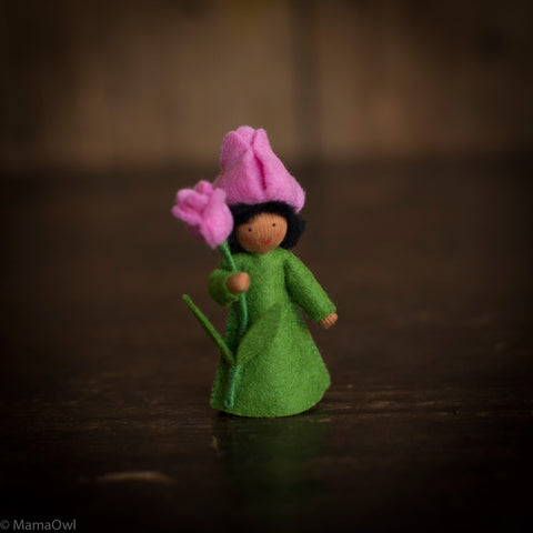 Handmade Small Wool Fairy Holding Flower - Pink Tulip