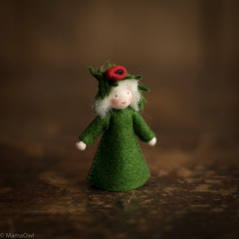 Handmade Small Wool Winter Fairy - Yew Tree