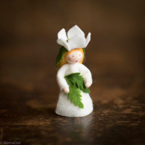 Handmade Small Wool Fairy - Christmas Rose - White