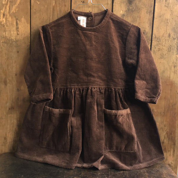 Cotton Corduroy Day Dress - Chocolate - 3-10y