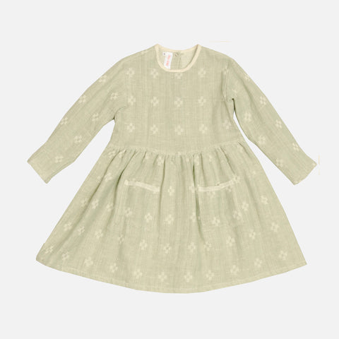 Linen & Cotton Day Dress - Bambus - 2-10y