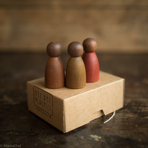 3 Darker Wood Nins - Warmer Colours