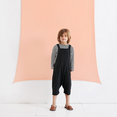 Organic Cotton LS Dropped Shoulder Tee - Nearly Black/Cream Stripe - 12m-10y