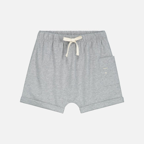 Organic Cotton One Pocket Shorts - Grey Melange - 12m-10y