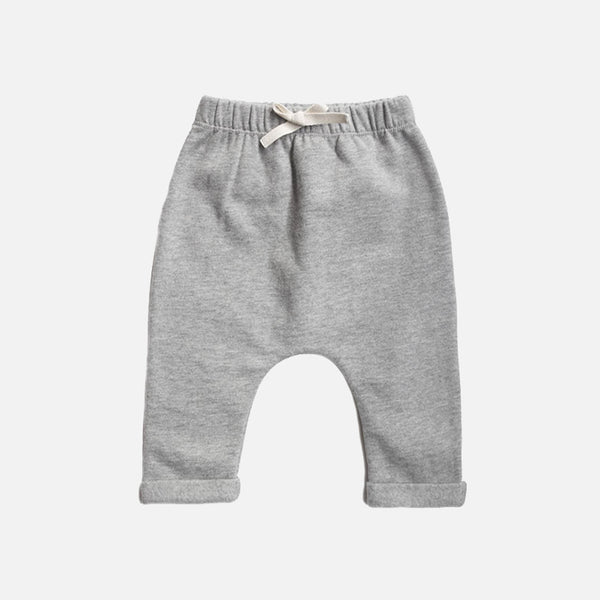 Organic Cotton Baby Pants - Grey Melange - 3-12m