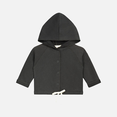 Organic Cotton Baby Hooded Cardigan - Nearly Black - 1-12m