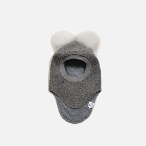 Wool Felt Pom Pom Balaclava - Light Grey/White