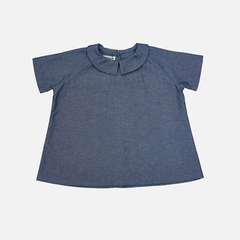 Cotton Ork Shirt - Herringbone Denim - 18m-8y