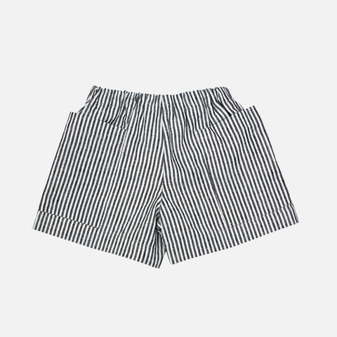 Linen Pocket Shorts - Grey Stripe - 18m-12y
