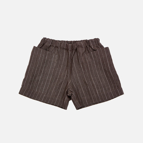 Linen Pocket Shorts - Brown Pinstripe - 18m-12y