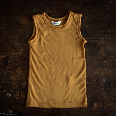 Exclusive Merino Sleeveless Vest/Undershirt - Ochre - 1-12y