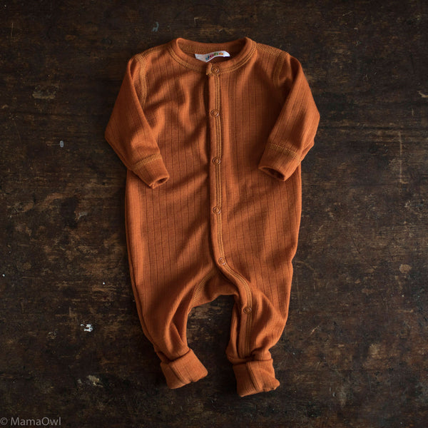 Exclusive Merino Wool Pyjamas/Romper - Rust - 0m-3y