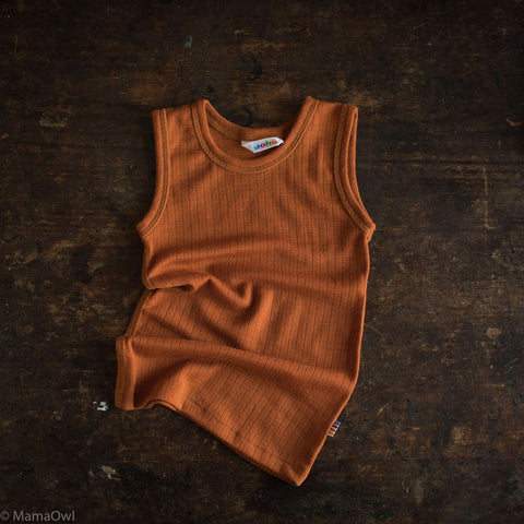 Exclusive Merino Sleeveless Vest/Undershirt - Rust - 1-12y