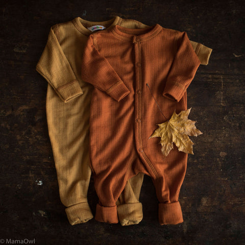 Exclusive Merino Wool Pyjamas/Romper - Ochre - 0m-3y