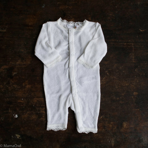 Lace Merino/Silk Romper Natural - 0m-3y