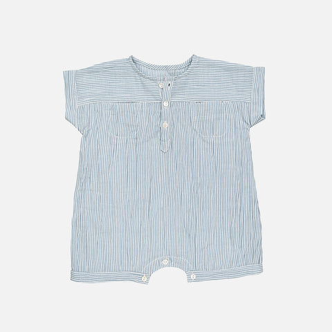 Organic Cotton Eole Baby Shortalls - Blue Stripe - 3m-2y