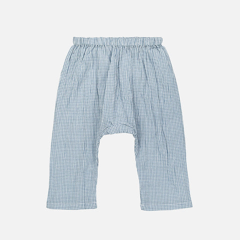 Organic Cotton Babunanu Baby Trousers - Blue Check - 6m-3y