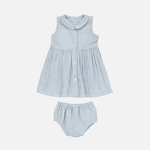 Organic Cotton Audrey Dress - Blue Stripe- 6m-10y