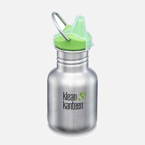 Kid Kanteen Classic Sippy Water Bottle - 355ml - Brushed Stainless