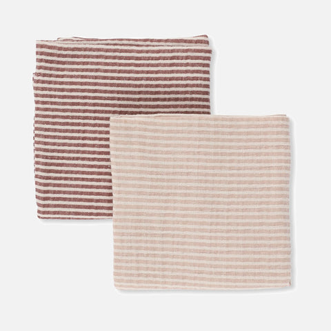 Organic Cotton Muslins - Stripe Blush/Pink - Set of 2