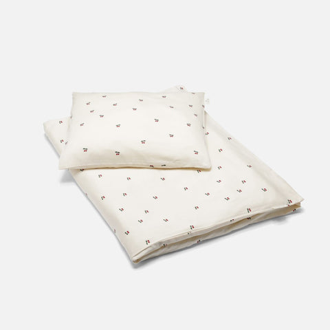 Organic Cotton Duvet & Cushion Cover - Cherry - Junior Size