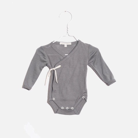 Organic Merino Wrap Body - Grey - 0-9m