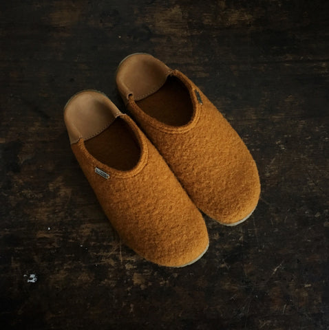 Adult Boiled Wool Slippers - Mustard - 36-41 (UK3.5-7.5)